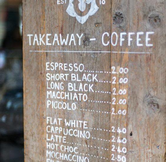 menu kawy na wynos